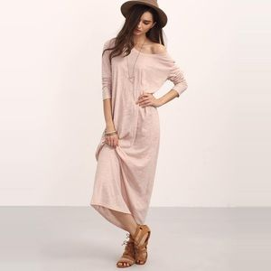Dresses & Skirts - Long Sleeve Scoop Neck Burnout Knit Blush Dress